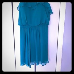 Cache strapless dress pretty blue green color